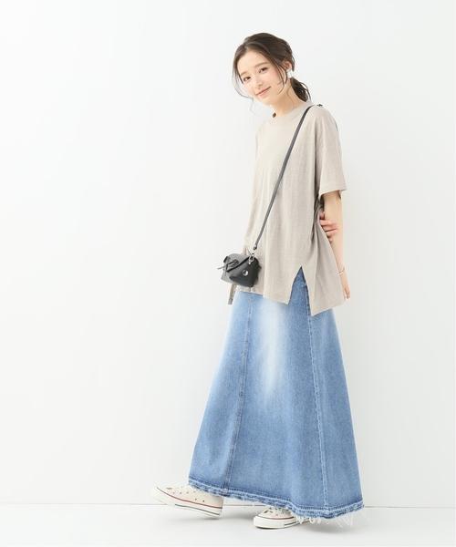 リネンオーバーサイズTシャツ×デニムスカート