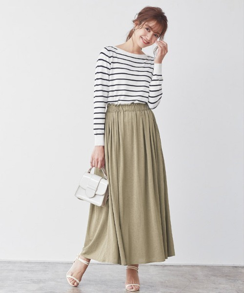 [Pierrot] フリルギャザーロングスカート