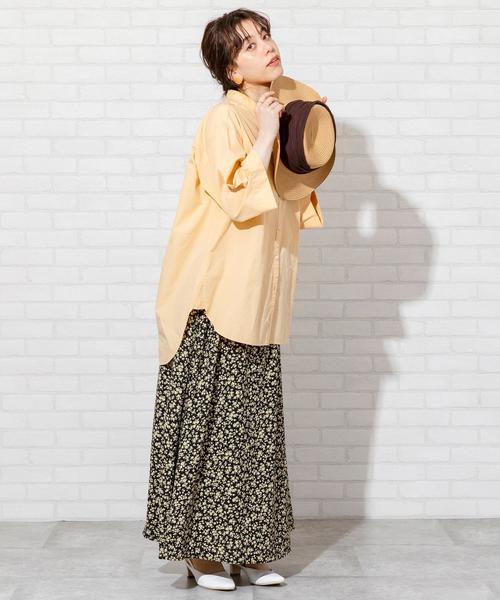 [coen] 【WEB限定】プリントタックロングスカート#