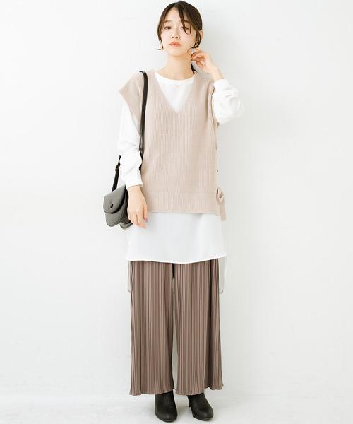 [haco!] パンツ派さんのデートにもカジュアル派さんの重ね着にも便利なプリーツパンツ
