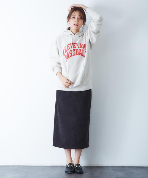[Rouge vif la cle] スエードタイトスカート