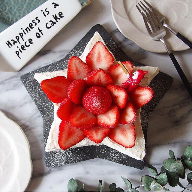 誕生日ケーキに簡単レシピ!星型イチゴケーキ