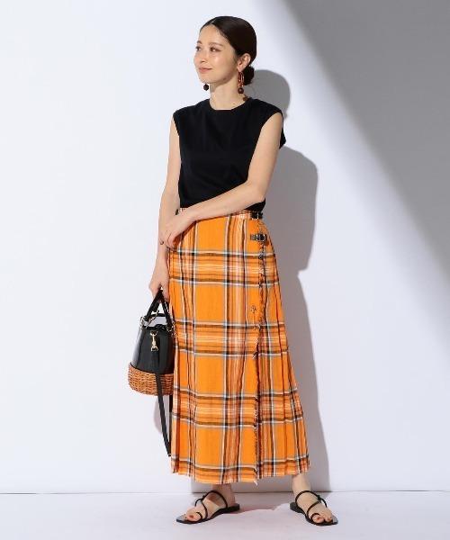 [BEAMS WOMEN] O'NEIL OF DUBLIN / リネン タータンキルト スカート