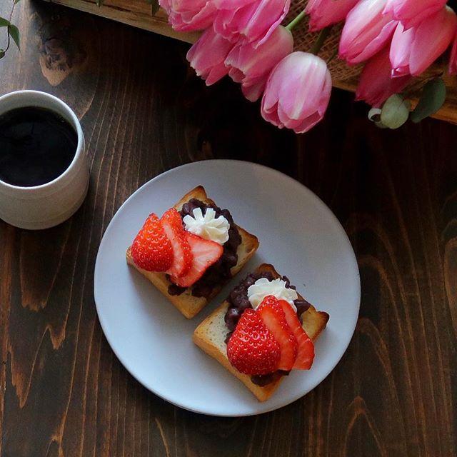 小倉あんと苺のアレンジトースト