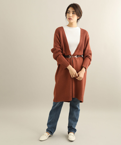 [ViS] ロング丈柄編みカーディガン