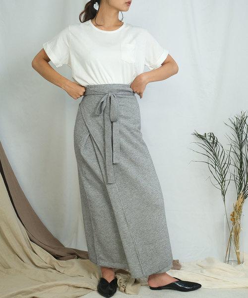 [ANDJ] ニットラップロングスカート