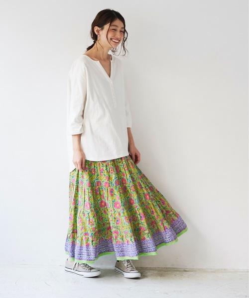 [A.I.C] ボタニカルPRINT・ティアードスカート