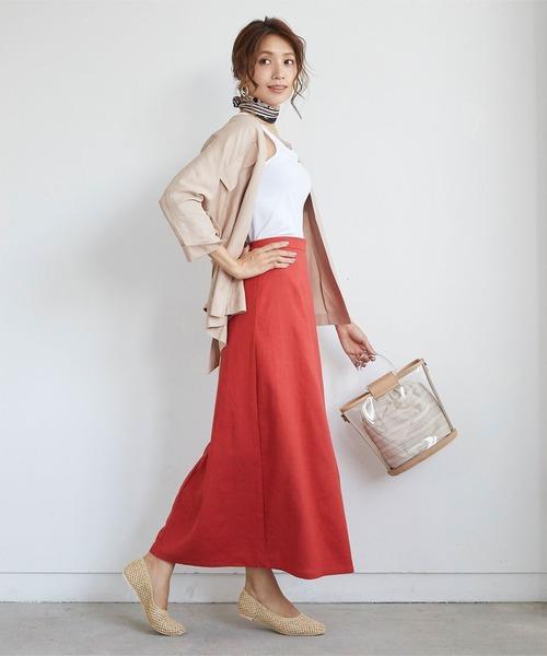 [titivate] リネン混Aラインロングスカート