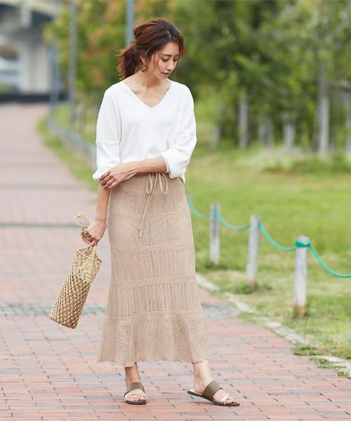 [titivate] かぎ針編みニットマーメイドフレアスカート
