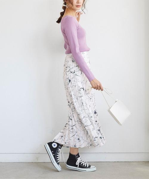 [titivate] 花柄プリーツロングスカート