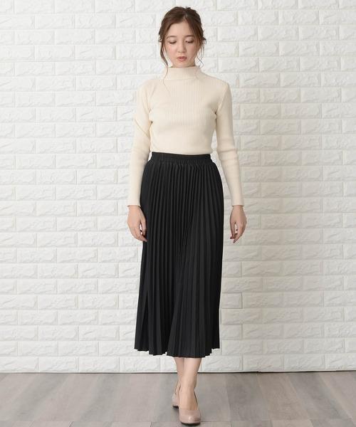 [Lace Ladies] ウエストゴムプリーツシンプル無地ロング丈スカート