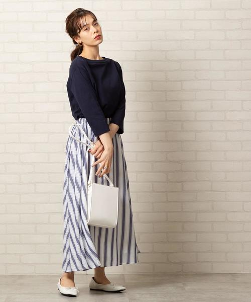 [coen] ストライプマキシスカート