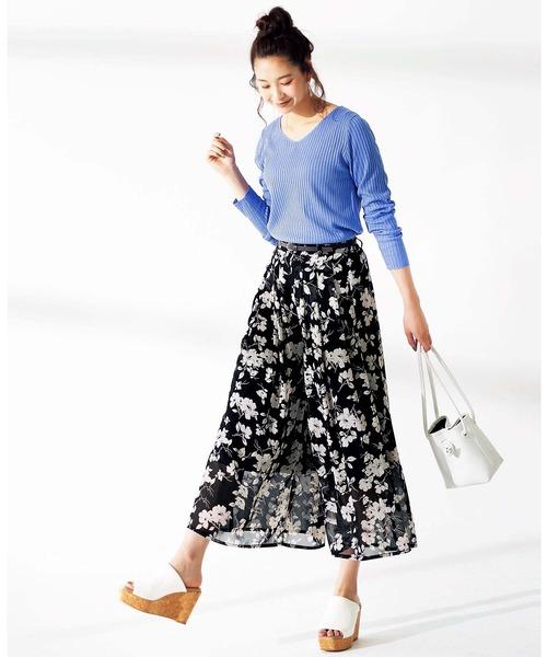 [GeeRA] 【20春新着】合皮ベルト付ロングスカーチョ