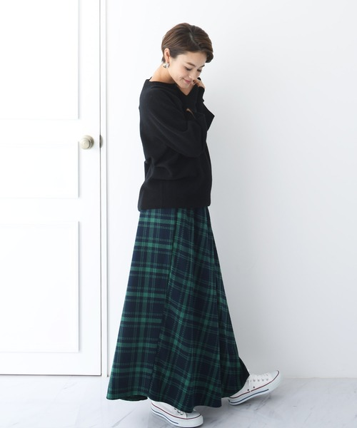 [CHOCOA] 産前産後チェックラップ マタニティスカート