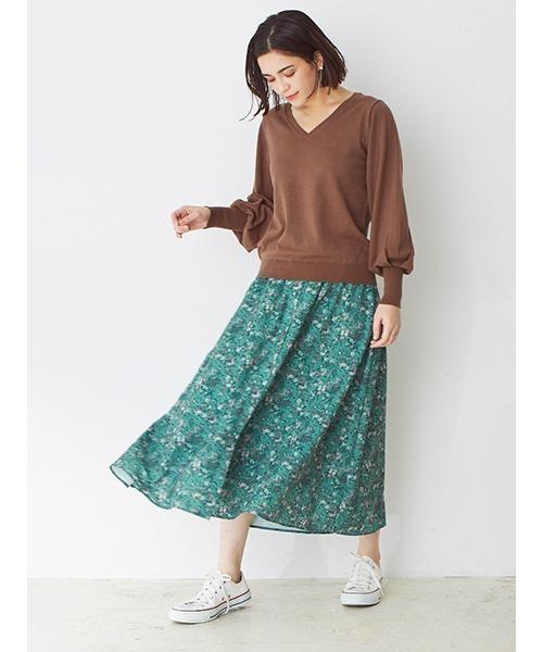 [DRWCYS] 小花柄フレアースカート