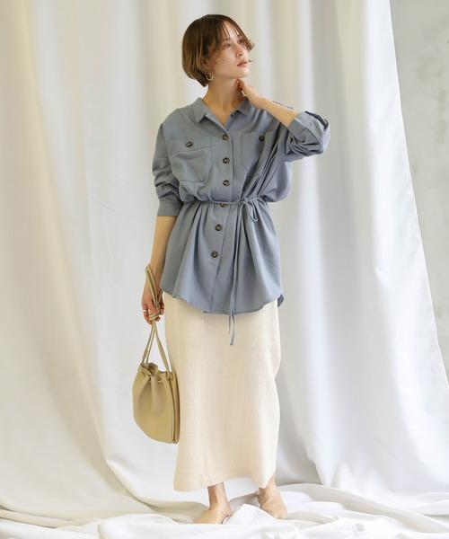 [select MOCA] 2020 S/S リネン混チュニックシャツ/麻ブレンドルーズシャツ