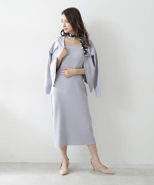 [PROPORTION BODY DRESSING] ショートカーデ&ニットワンピセットアップ