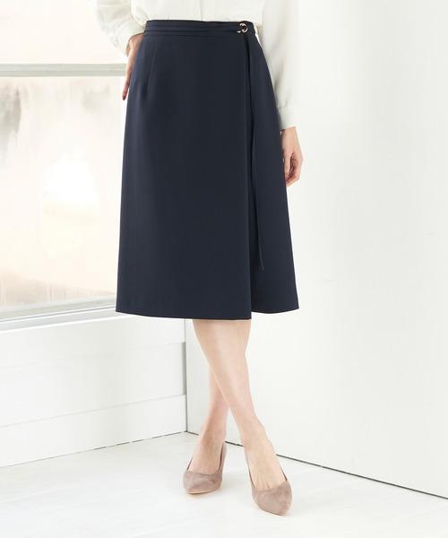 [ROPE' PICNIC] 【WEB限定34-42サイズ】【セットアップ対応】ストレッチラップ風スカート