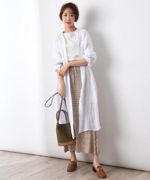 [INTERPLANET/actuel] 【Blanc basque】ラミーローンロングシャツ