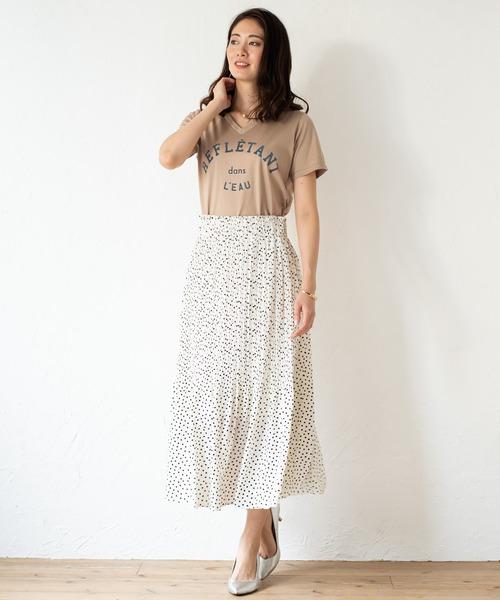 [Loungedress] ドットプリーツスカート