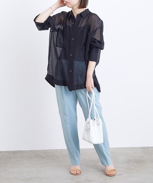 シアーオーバーシャツ×センタープレスパンツ