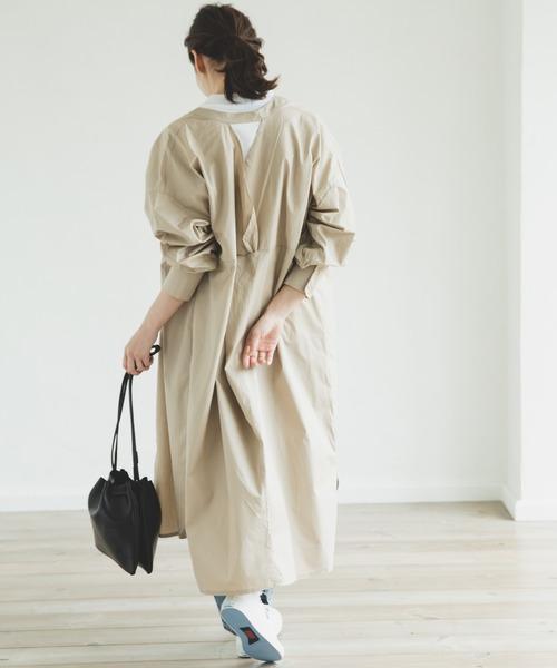 [pairmanon] 【ママサイズ】長袖 ロング丈 コクーンシルエット バッククロス コットン シャツ ワンピース