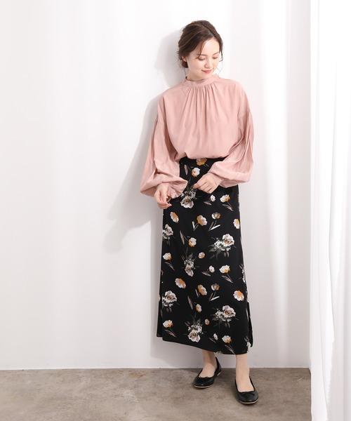 [ViS] 大花柄ロングスカート