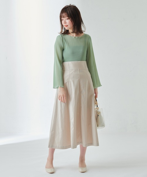 [natural couture] 細プリーツシフォンメローTブラウス