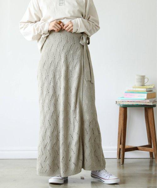 [Ray Cassin] ウェーブ透かし編みラップスカート