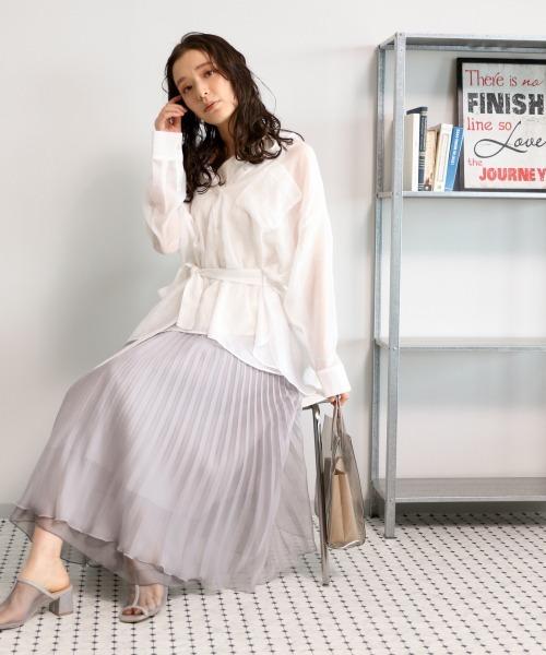 [mysty woman] オーガンジープリーツスカート 875615