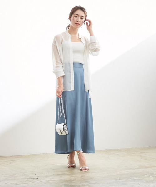 [ur's] サテンフレアマキシ丈スカート