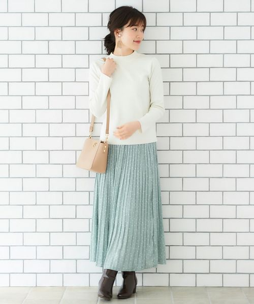 [le.coeur blanc] ドットサテンプリーツスカート