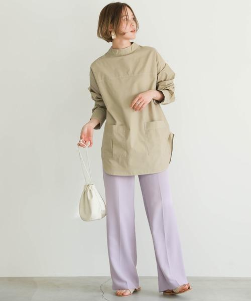 [select MOCA] 2020 S/S ポケット付ステッチシャツ/バックスナップボタンプチハイネックブラウス