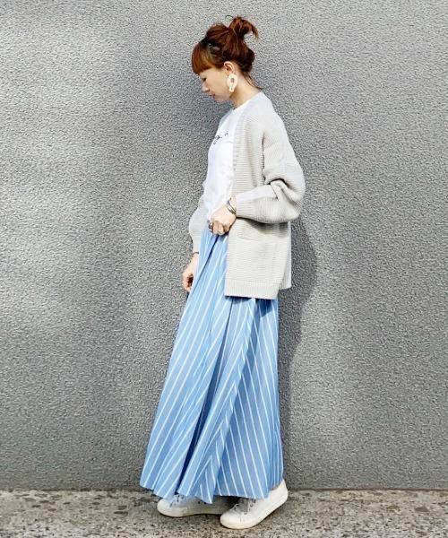 [AZUL ENCANTO] 【洗濯機で洗える】【静電気 軽減効果】ストライプ柄タックフレアースカート
