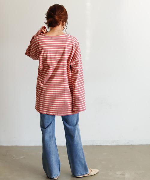 [Auntie Rosa] 【Holiday】ヘヴィーコットンボーダーTシャツ