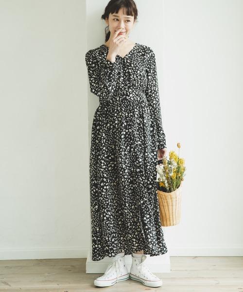 [pairmanon] 【ママサイズ】9分袖丈 Vネック 小花柄 シャツ ロング ワンピース