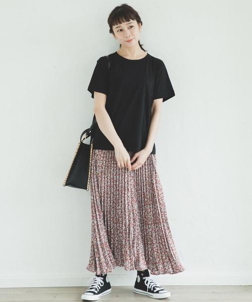 [pairmanon] 【ママサイズ】アコーディオン プリーツ ロング 花柄 スカート
