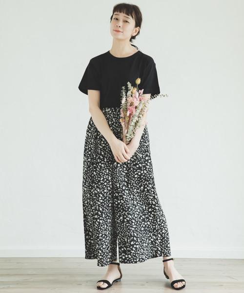 [pairmanon] 【ママサイズ】花柄 チェック ストライプ ロング フレア ガウチョ パンツ ワイドパンツ