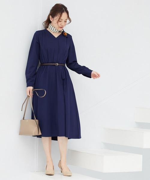 [ViS] 【WEB限定】合皮ベルト付フレアワンピース
