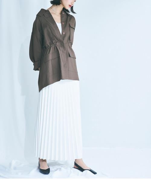 [ELFF] ECO LEATHER PLEATED MAXI SKIRT / エコレザープリーツマキシスカート