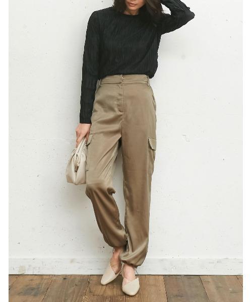 [Re:EDIT] 裾絞りサテンカーゴパンツ