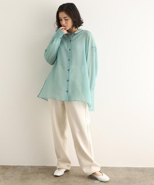 [ADAM ET ROPE'] ブライトスパンスタンドカラーシャツ(シアーシャツ/バンドカラーシャツ)