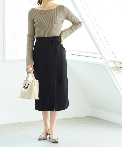 [ur's] リボン付ラップスカート