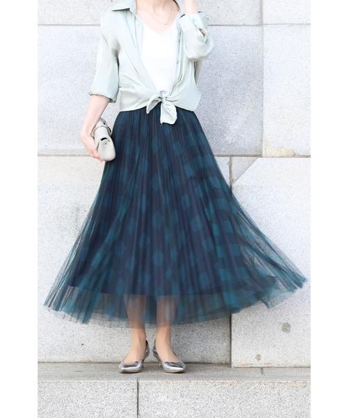 [FRENCH PAVE] 重なるチュールのチェックミディアムスカート