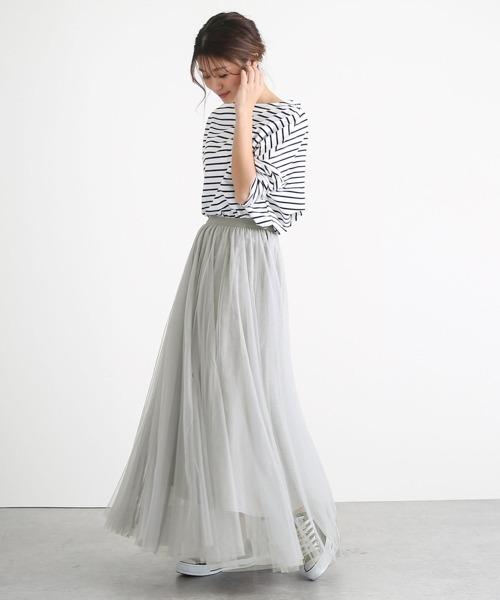 [La-gemme] ロングフレアチュールスカート