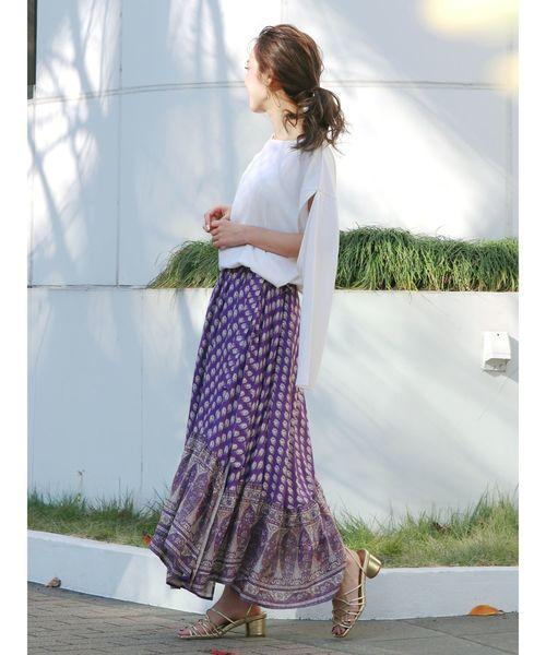 [Ungrid] ペイズリーギャザーラップスカート