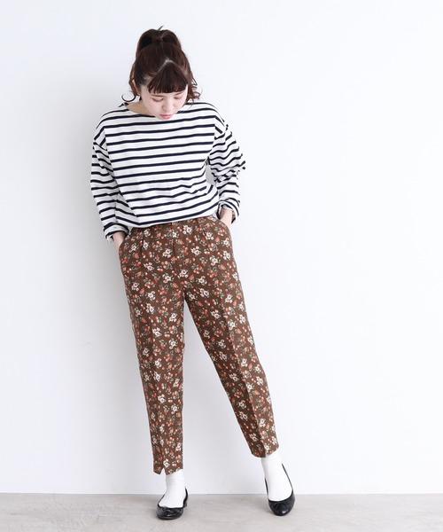 [Dot&Stripes CHILDWOMAN] Vis/麻ベリーMIXプリントテーパードパンツ