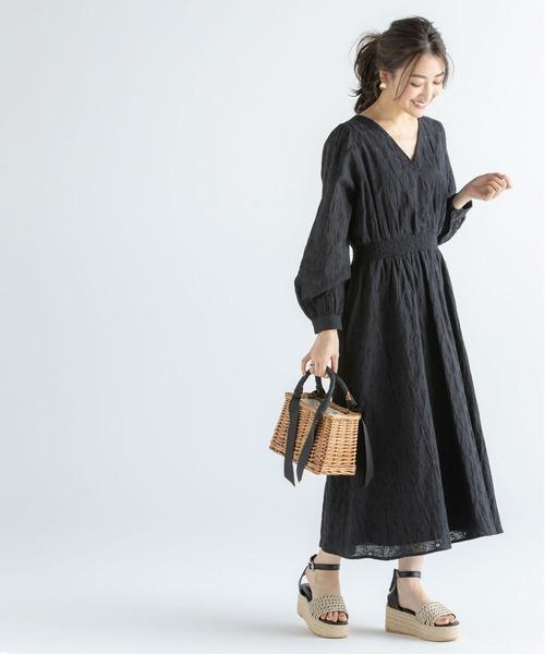 [tocco closet] フラワーカットワーク刺繍カシュクールワンピース