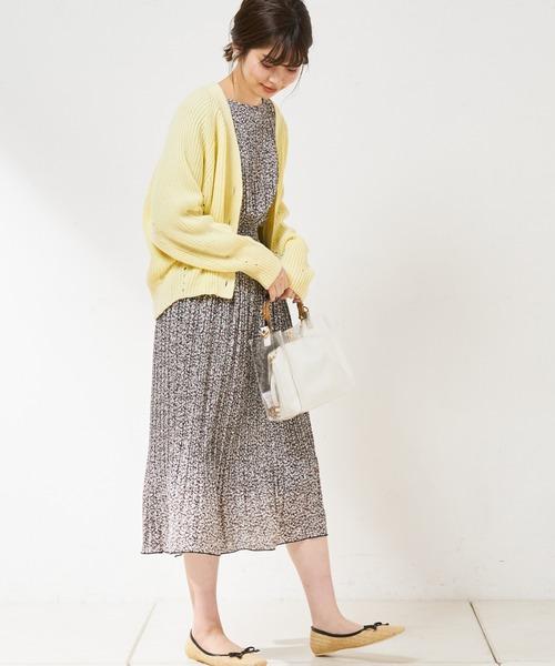 [natural couture] New プチプラアイレット畦カーディガン