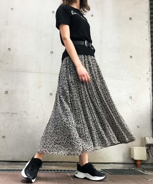 [Fashion Letter] ドット花柄ミックス消しプリーツスカート